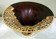 Artistic carved wood bowl by Bill Youngblood - Michigan Artist