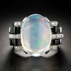 Austrian Jelly Opal, Onyx and Diamond Ring