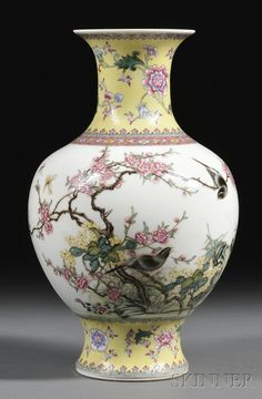 Chinese Fencai Vase with Bird and Peony Branches Design