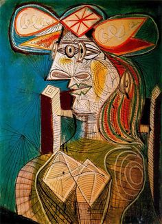 """surrealism-love:  """" Seated woman on wooden chair, 1941, Pablo Picasso  Size: 129.5x96.5 cm  Medium: oil on canvas"""""""