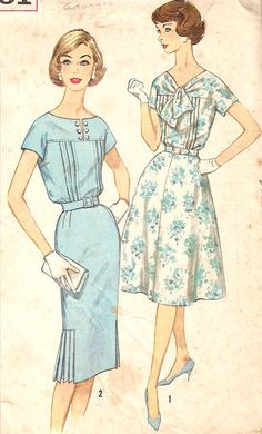 1960's pleat detail slenderette dress - Simplicity vintage sewing pattern -  Size 12