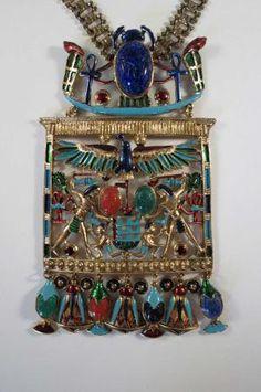 Sgnd DioRios Egyptian Revival Scarab Enamel by DecatiqueStudios, $600.00