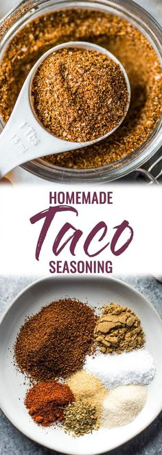 This Homemade Taco Seasoning recipe is made without any fillers, preservatives, added sugar or weird ingredients – just a delicious blend of Mexican spices and herbs to get your taco party started! Chicken Taco Seasoning, Seasoning Mixes, Taco Seasoning Recipes, Taco Seasoning Recipe Without Chili Powder, Sugar Free Taco Seasoning Recipe, Taco Chicken Marinade, Shawarma Seasoning, Gluten Free Taco Seasoning, Gastronomia