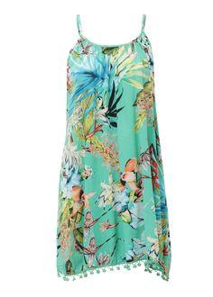CLOTHING :: Tropical Print Pom Pom Dress -