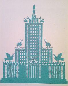 """1955 r. - współczesna wycinanka kurpiowska """"Pałac Kultury i Nauki w Warszawie"""""""