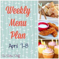 Weekly Menu Plan April 7-13 #sixsistersstuff