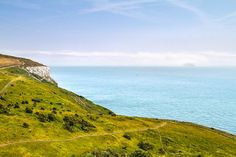 Langdon Bay with a ferry coming out of the fog, viewed from the coastal trail #White Cliffs of #Dover #England #nature