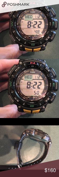 Men's Casio pathfinder watch Brand new, never used pathfinder watch. This watch is what American special forces and special ops wear. Picture with model number is in pictures. Solar powered and waterproof. Good for hiking, fishing, hunting, skydiving, scuba diving, mountain climbing, survival training, and nice enough to wear on a date and to church. This is the ultimate guys watch. No holds, no trades, no wimpy guys. Get it for a steal while you can. Sorry no box. PRICE FIRM Casio…