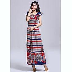 TS Bohemia raya ethinc delgado vestido Maxi Beach (imprime al azar) – USD $ 20.99