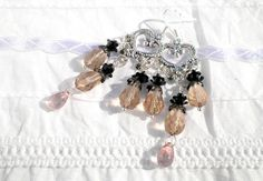 Champagne Glass Crystal Drop Beads and Black Aluminium by juta230, $22.15