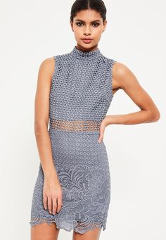 Missguided - Blue High Neck Lace Sleeveless Embroidered Bodycon Dress