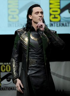 Tom Hiddleston speaks onstage at Marvel Studios 'Thor: The Dark World' and 'Captain America: The Winter Soldier' during Comic-Con International 2013 at San Diego Convention Center on July 20, 2013.