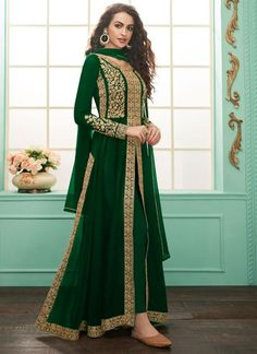 Looking to buy Indian clothes online? Shop for designer sarees, salwar kameez with latest designs, including Anarkali suits, dresses, chaniya choli now! Latest Anarkali Suits, Salwar Suits Online, Indian Designer Outfits, Indian Outfits, Indian Evening Gown, Indian Inspired Fashion, Long Choli Lehenga, Gold Pants, Indian Bridal Wear