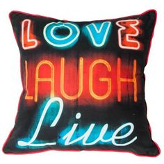 Graham & Brown Neon Type Pillow (42 CAD) ❤ liked on Polyvore featuring home, home decor, throw pillows, pillows, cushion, furniture, other, neon throw pillows, plush throw pillows and graham & brown