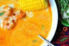 Spicy shrimp and corn soup