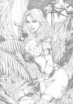 ideas fantasy art pencil red sonja for 2019 Coloring Book Art, Adult Coloring Pages, Colouring, Sword And Sorcery, Red Sonja, Doja Cat, Illustrations, Drawing Poses, Outdoor Art