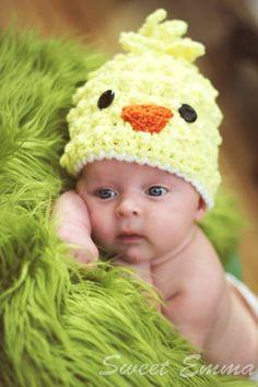 Crochet chick hat pattern.