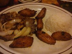 Steak, Rice, and Plantains. Cuban food :)