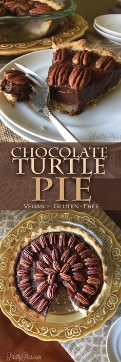 Guilt-free goodness made with healthy ingredients. A rich chocolate pie covered in smooth caramel and toasted pecans. Vegan, gluten free and paleo.