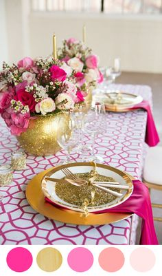 pink table setting, mesa decorada en rosa y dorado