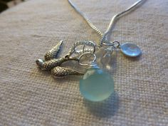 Sterling Silver Necklace with Chalcedony Stone by CurranStudios, $21.00