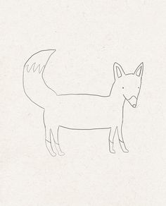 Fox line drawing - simple line but interesting character to design