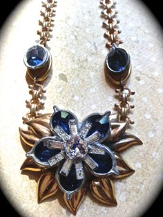 Beautiful sapphire blue vintage necklace by JNPVintageJewelry, $85.00