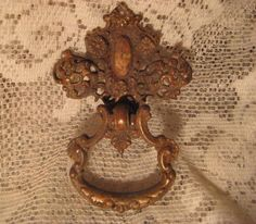 1 Antique Ornate Brass Drawer Pull Fitting Supply by StarPower99, $8.99