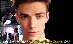 grant gustin being a big dork cutie