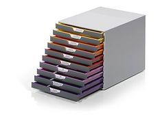 Durable 761027 Varicolor 10 Desk Organiser with 10 Colour Coded Drawers Office Bin, Desktop Drawers, Desktop Storage, Colorful Desk, Wooden Desk Organizer, Drawer Labels, Hanging File Folders, Remove Labels, Bead Storage