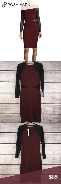 French Connection | Viven Paneled Jersey Dress 10 New French Connection Viven Paneled Jersey knit dress in women's size 10. Beautiful fitted style illusion dress. Bike berry color.   New with tags  Size: 10  L14 French Connection Dresses Midi