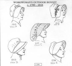 CWH01  1789  1818 Workwoman's Outdoor Bonnet by patternsoftime, $14.95