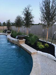 Landscaping Around Pool, Swimming Pool Landscaping, Swimming Pools Backyard, Backyard Pool Designs, Small Backyard Landscaping, Backyard Ideas, Backyard Patio, Pool Ideas, Small Backyard With Pool