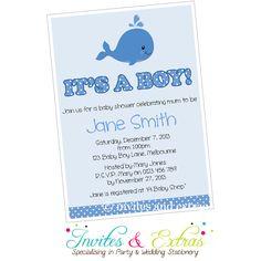 Whale Boy Baby Shower Invitation