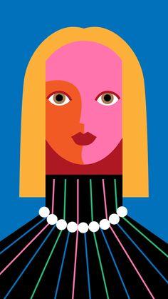 II by Minji Moon - Electric Objects Portrait Illustration, Character Illustration, Arte Pop, Fine Art Photography, Cute Art, Illustrators, Modern Art, Pop Art, Abstract Art