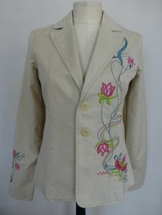 BUFFALO DAVID BITTON Embroidered Cotton Blazer Jacket Coat