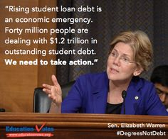This week, Sen. Elizabeth Warren will try again to pass a bill that will allow student loan borrowers to refinance at a lower rate. Tell Congress how student loan debt affects you or someone you know #DegreesNotDebt