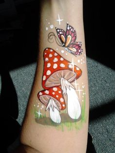 Butterfly & mushroom face paint idea.