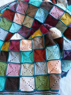 solid color granny square