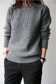 Women's fashion | Grey sweater and black trousers