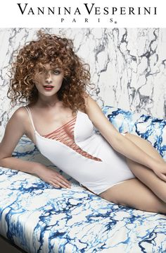 Vannina Vesperini S/S 15 Collection. Swimwear 'Bain Couture' theme. One-piece swimsuit in White-Red