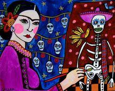 Frida Kahlo Sugar Skulls Art Mexican Folk Art Print Poster Painting skeleton