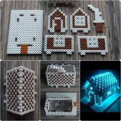 Christmas Gingerbread House hama perler beads by cupcake cutie Melty Bead Patterns, Pearler Bead Patterns, Beading Patterns, Perler Patterns, Peyote Patterns, Hamma Beads 3d, Peler Beads, Fuse Beads, Perler Bead Templates