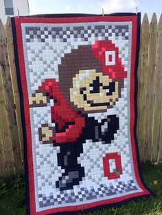 OSU Ohio State Digital 8-bit Brutus Buckeye by MidWestThreadsOhio