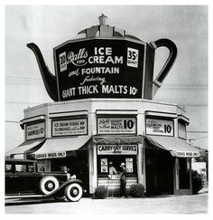 Balls fine Ice Cream and Fountain featuring Giant Thick Malts 10 cents vintage photography black and white photo Vintage Diner, Vintage Signs, Vintage Ads, Vintage Advertisements, Old Pictures, Old Photos, Vintage Photographs, Vintage Photos, Unusual Buildings
