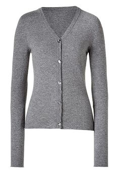 LUCIEN PELLAT-FINET  Silver Grey Heather V-Neck Cashmere Cardigan