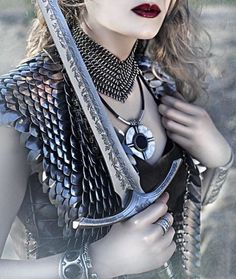 Sword and armor on woman