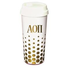 Chi Omega - Tumbler White with Gold Letters: But first, coffee! She needs this bright, trendy Chi Omega coffee tumbler to keep her buzz going fror th Alpha Epsilon Phi, Zeta Phi Beta, Alpha Sigma Alpha, Delta Gamma, Greek Gifts, Sorority Outfits, Coffee Tumbler, Sorority And Fraternity, Chi Omega