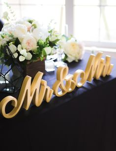 Find Your Wedding Style - Mr and Mrs Table Signs for a Ultra Romantic Sweetheart Table Setting   Script Mr & Mrs Wedding Signs by Z Create Design www.zcreatedesign.com or Shop ZCreateDesign on Etsy