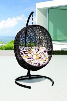 Tigan Outdoor Synthetic Wicker Swing Chair Model Y9068-BK